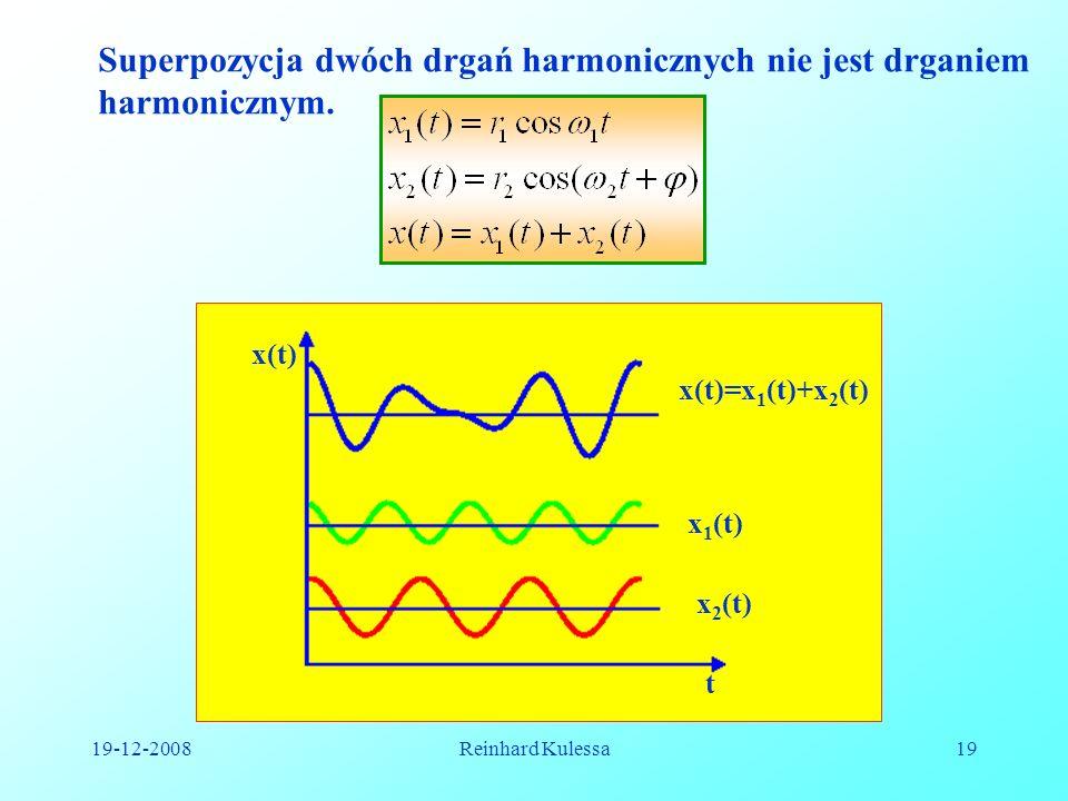 19-12-2008Reinhard Kulessa19 Superpozycja dwóch drgań harmonicznych nie jest drganiem harmonicznym. t x(t) x(t)=x 1 (t)+x 2 (t) x 1 (t) x 2 (t)