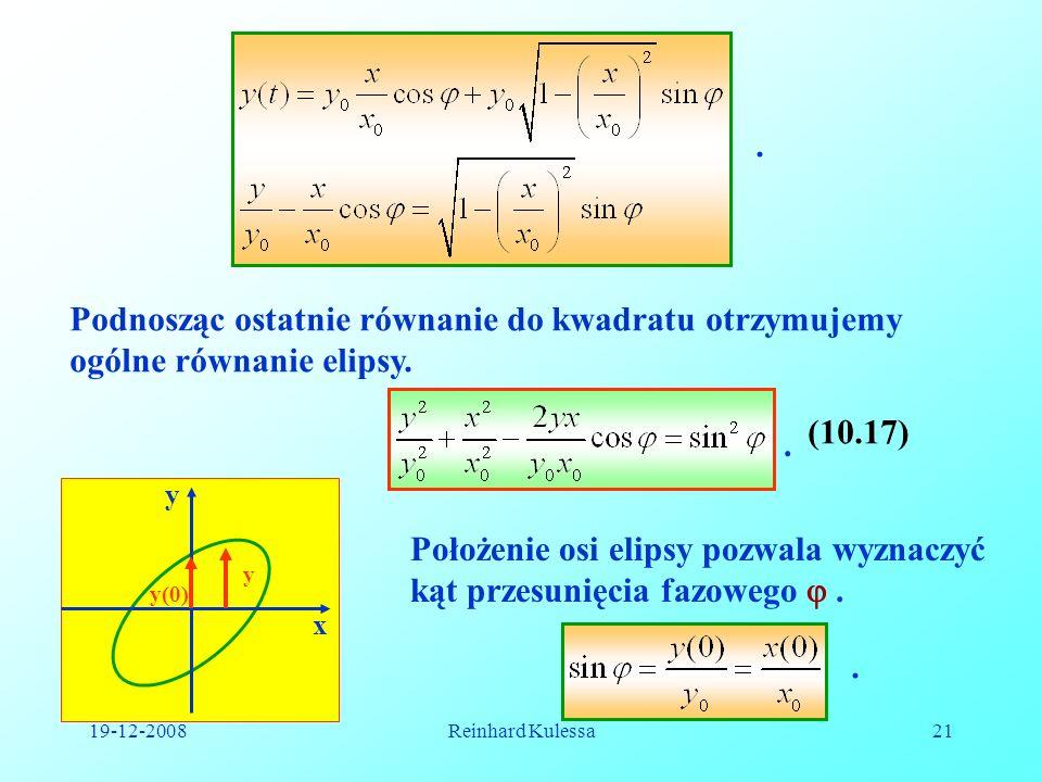 19-12-2008Reinhard Kulessa21. Podnosząc ostatnie równanie do kwadratu otrzymujemy ogólne równanie elipsy.. (10.17) y x y(0) y Położenie osi elipsy poz