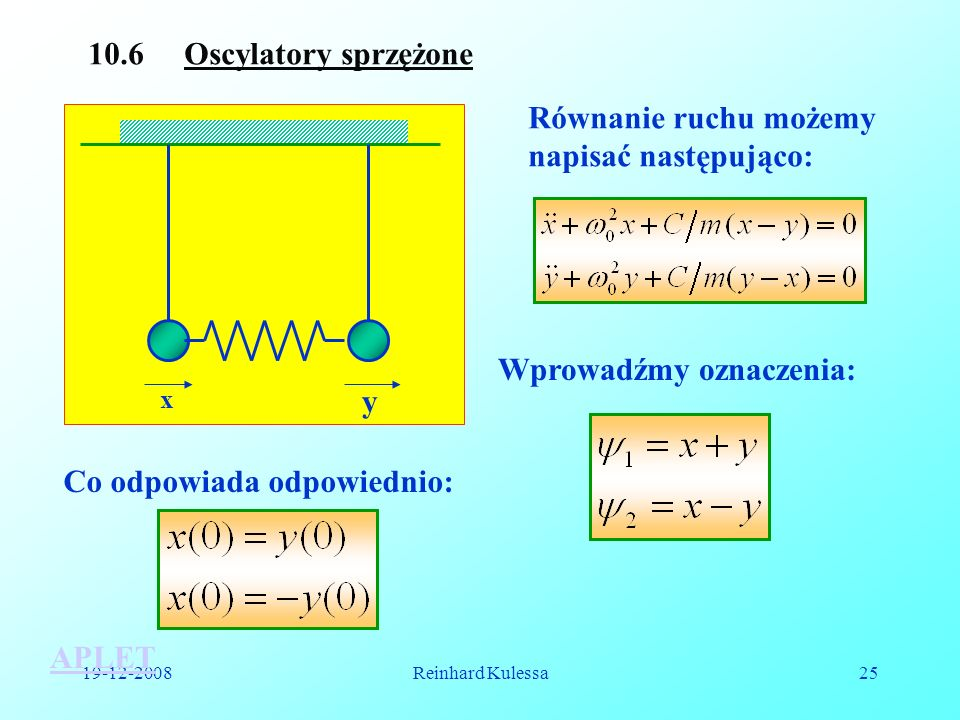 19-12-2008Reinhard Kulessa25 10.6 Oscylatory sprzężone x y Równanie ruchu możemy napisać następująco: APLET Wprowadźmy oznaczenia: Co odpowiada odpowi