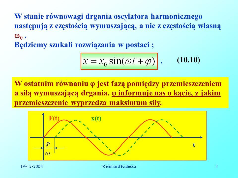 19-12-2008Reinhard Kulessa3 3 W stanie równowagi drgania oscylatora harmonicznego następują z częstością wymuszającą, a nie z częstością własną 0. Będ