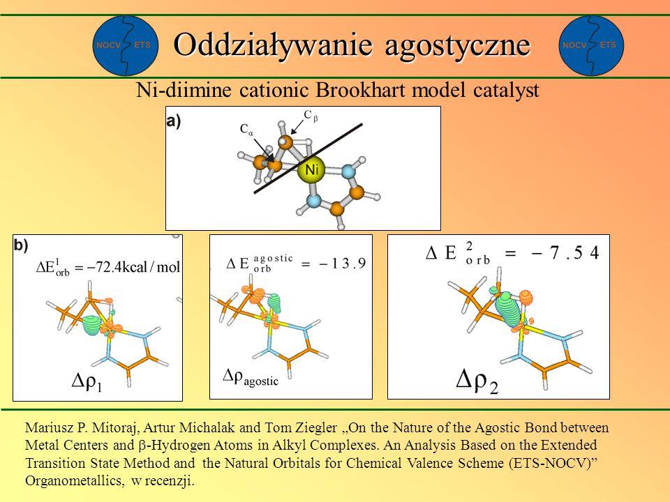 Oddziaływanie agostyczne Ni-diimine cationic Brookhart model catalyst Mariusz P. Mitoraj, Artur Michalak and Tom Ziegler On the Nature of the Agostic