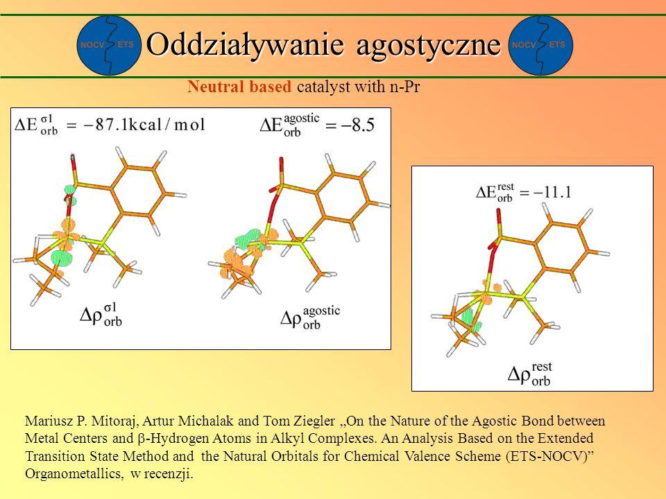 Neutral based catalyst with n-Pr Oddziaływanie agostyczne Mariusz P. Mitoraj, Artur Michalak and Tom Ziegler On the Nature of the Agostic Bond between