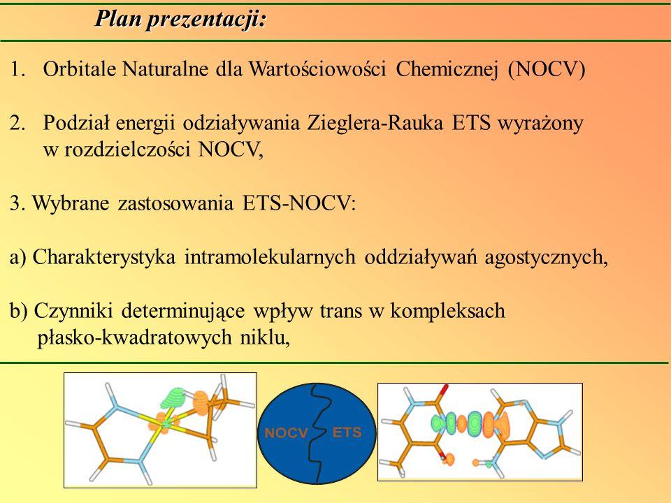 Orbitale naturalne dla wartościowości chemicznej (NOCV) NOCVs są powiązane z funkcją różnicowej gęstości elektronowej : znak : ujemny (odpływ), dodatni (przypływ) elektronów Nalewajski, R.F.; Mrozek, J.; Michalak, A.