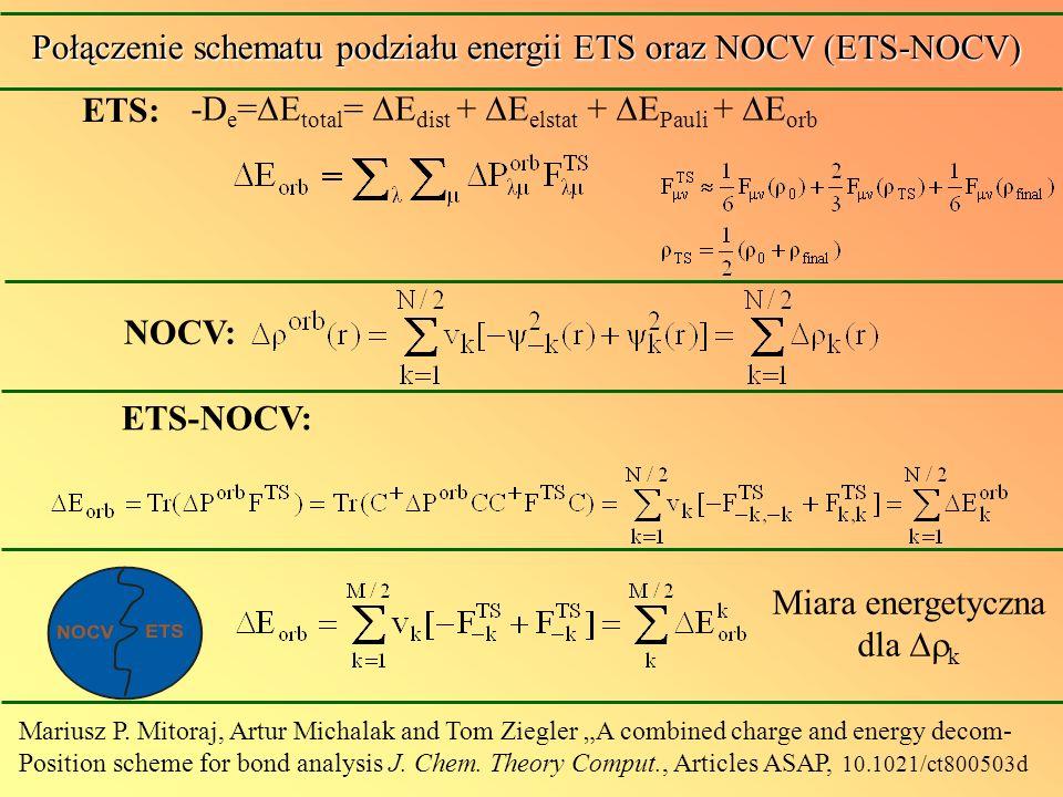 -D e = E total = E dist + E elstat + E Pauli + E orb ETS: Połączenie schematu podziału energii ETS oraz NOCV (ETS-NOCV) Mariusz P. Mitoraj, Artur Mich
