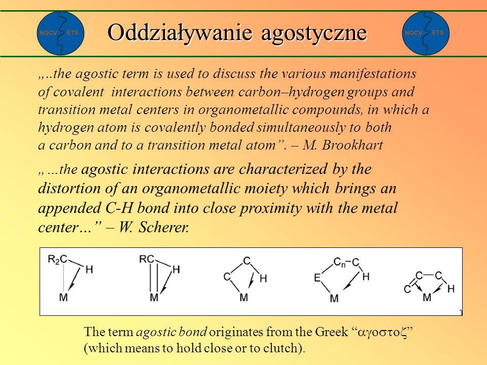 Oddziaływanie agostyczne Całkowita energetyka w obrębie grupy metali 4d E orb agostic