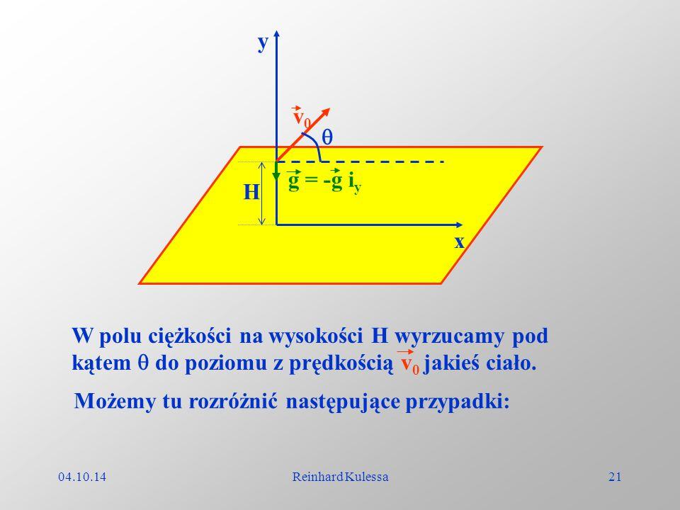 04.10.14Reinhard Kulessa21 x y g = -g i y v0v0 H W polu ciężkości na wysokości H wyrzucamy pod kątem do poziomu z prędkością v 0 jakieś ciało. Możemy