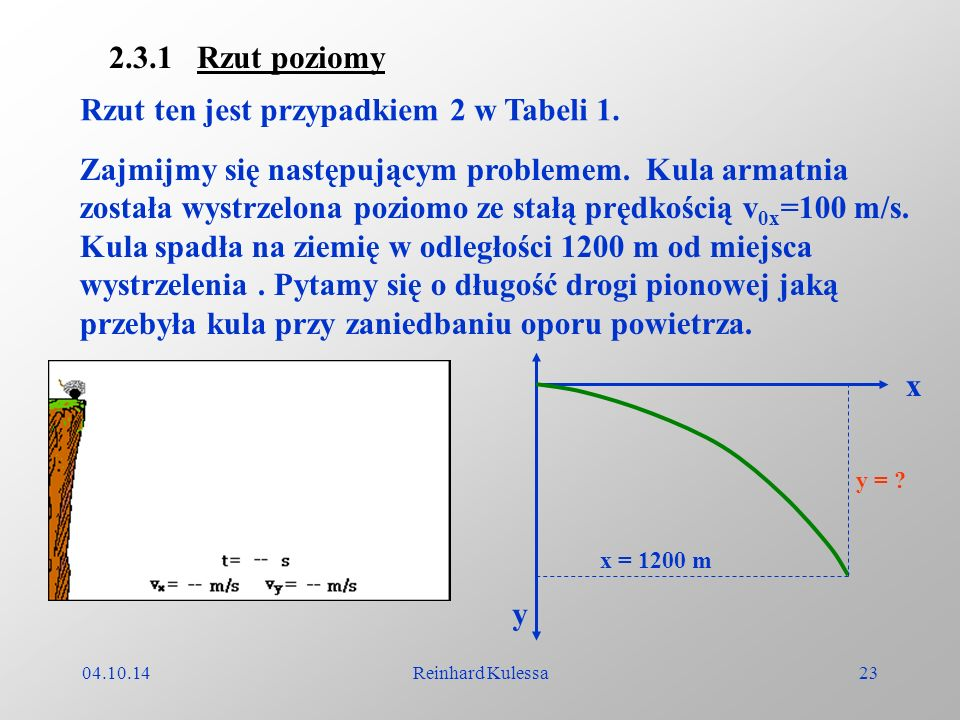 04.10.14Reinhard Kulessa23 2.3.1 Rzut poziomy Rzut ten jest przypadkiem 2 w Tabeli 1. Zajmijmy się następującym problemem. Kula armatnia została wystr