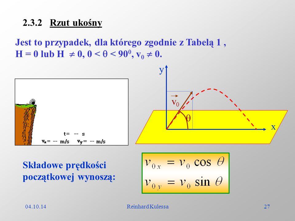 04.10.14Reinhard Kulessa27 2.3.2 Rzut ukośny Jest to przypadek, dla którego zgodnie z Tabelą 1, H = 0 lub H 0, 0 < < 90 0, v 0 0. y x v0v0 Składowe pr