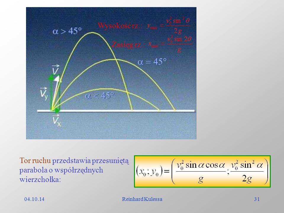 04.10.14Reinhard Kulessa31 Wysokość rz.: Zasięg rz.: Tor ruchu przedstawia przesuniętą parabola o współrzędnych wierzchołka: