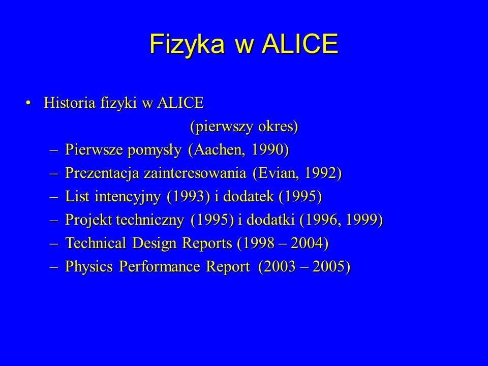 Fizyka w ALICE Historia fizyki w ALICEHistoria fizyki w ALICE (pierwszy okres) –Pierwsze pomysły (Aachen, 1990) –Prezentacja zainteresowania (Evian, 1