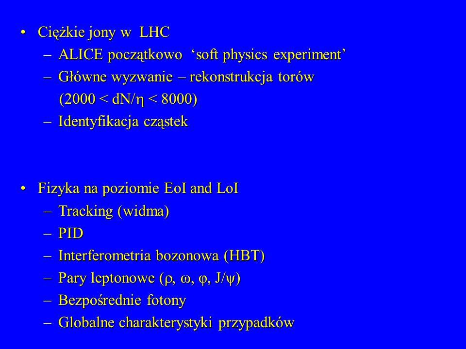 Ciężkie jony w LHCCiężkie jony w LHC –ALICE początkowo soft physics experiment –Główne wyzwanie – rekonstrukcja torów (2000 < dN/ < 8000) (2000 < dN/