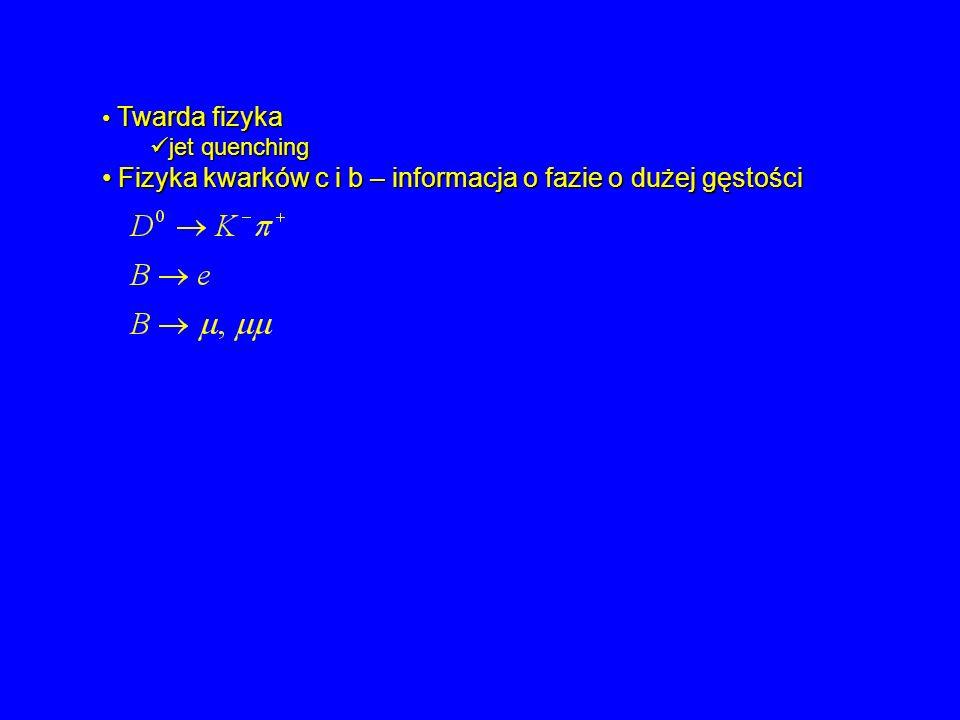 Twarda fizyka Twarda fizyka jet quenching jet quenching Fizyka kwarków c i b – informacja o fazie o dużej gęstości Fizyka kwarków c i b – informacja o