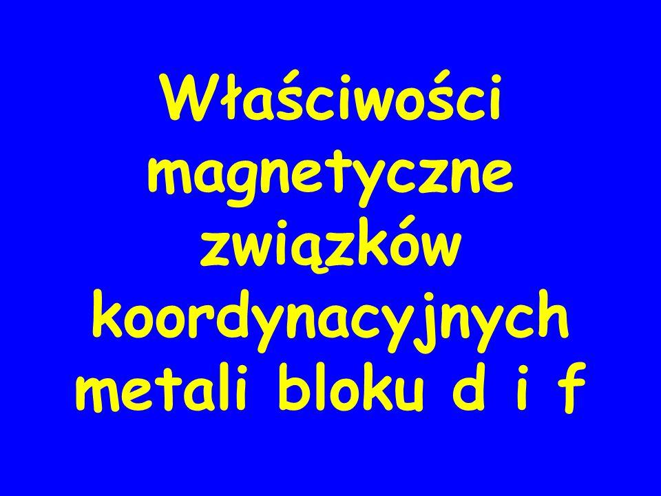 Właściwości magnetyczne związków koordynacyjnych metali bloku d i f