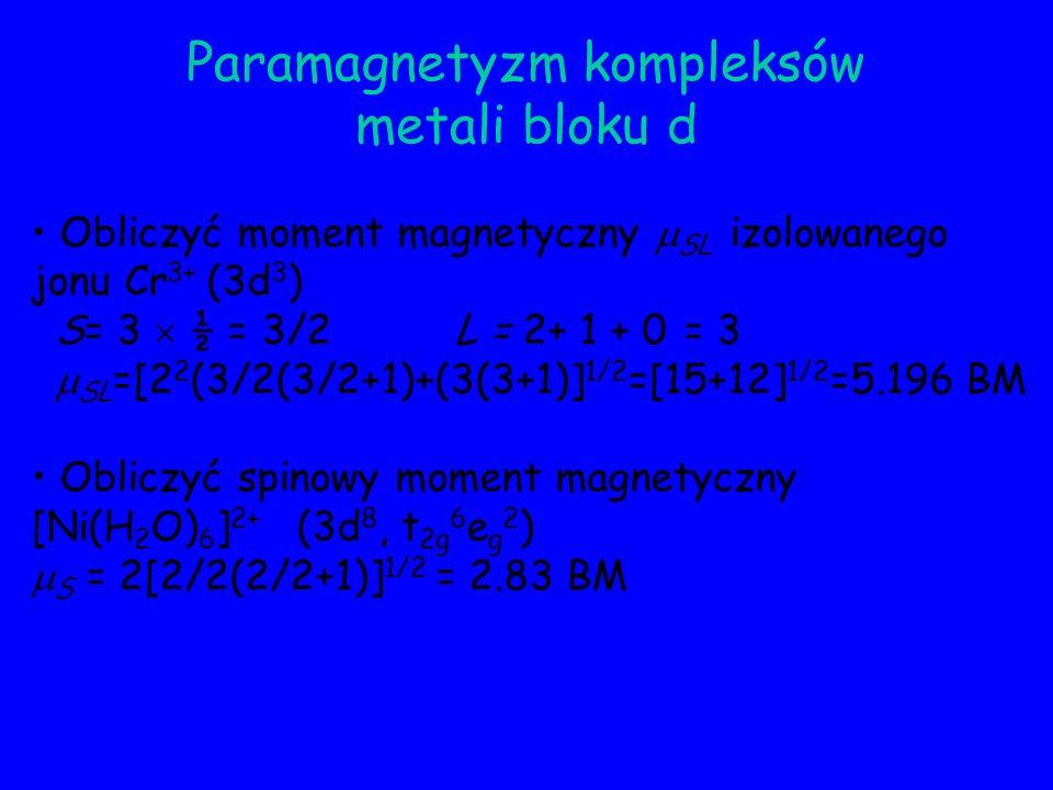 Paramagnetyzm kompleksów metali bloku d Obliczyć moment magnetyczny SL izolowanego jonu Cr 3+ (3d 3 ) S= 3 ½ = 3/2 L = 2+ 1 + 0 = 3 SL =[2 2 (3/2(3/2+