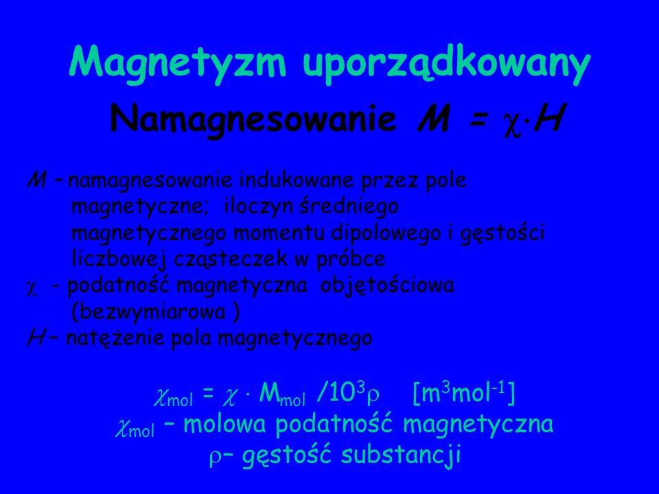 Magnetyzm uporządkowany Namagnesowanie M = H M – namagnesowanie indukowane przez pole magnetyczne; iloczyn średniego magnetycznego momentu dipolowego