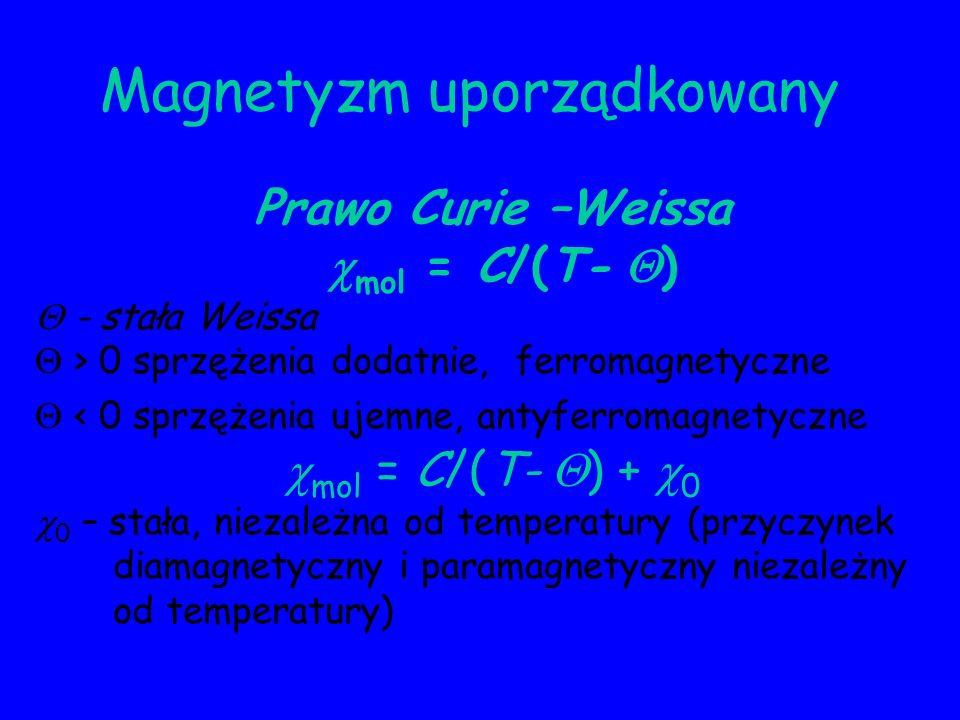 Magnetyzm uporządkowany Prawo Curie –Weissa mol = C/(T- ) - stała Weissa > 0 sprzężenia dodatnie, ferromagnetyczne < 0 sprzężenia ujemne, antyferromag