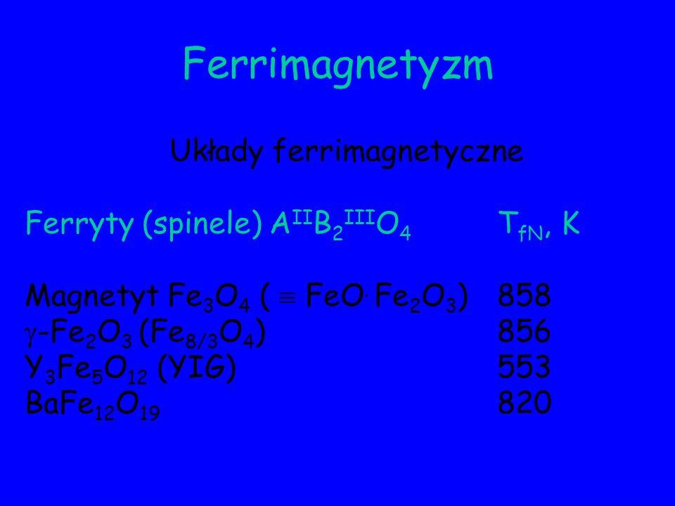 Ferrimagnetyzm Układy ferrimagnetyczne Ferryty (spinele) A II B 2 III O 4 T fN, K Magnetyt Fe 3 O 4 ( FeO. Fe 2 O 3 )858 -Fe 2 O 3 (Fe 8/3 O 4 )856 Y