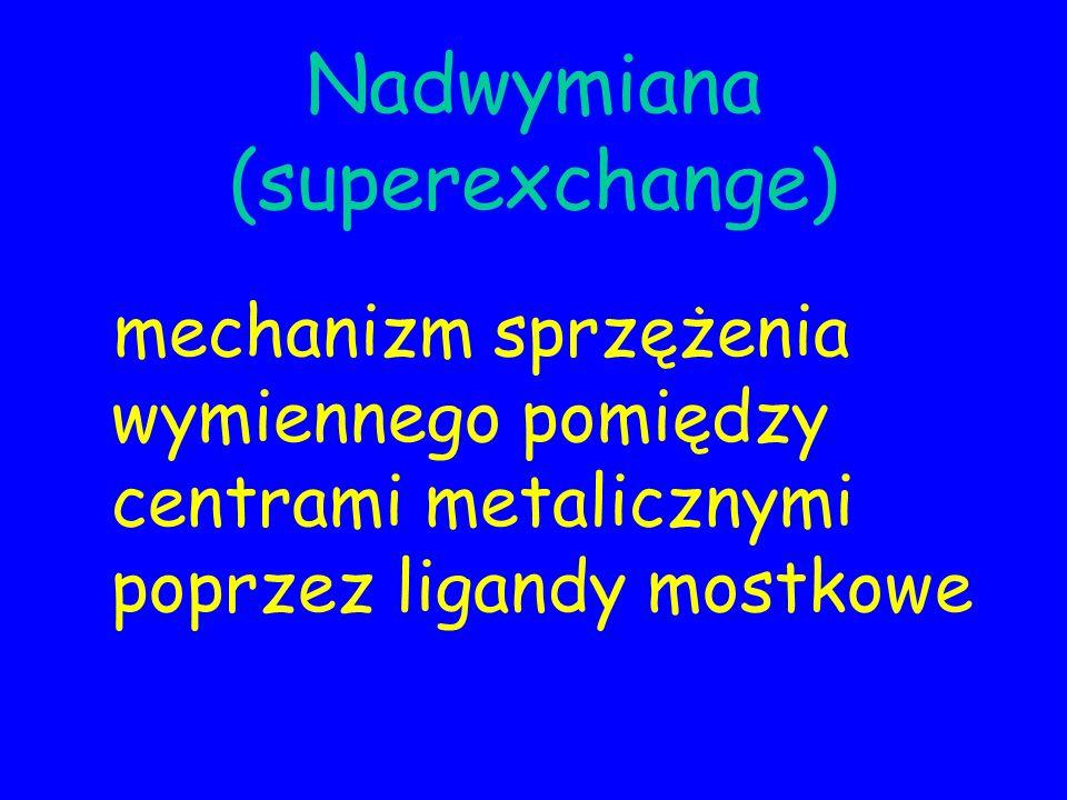 Nadwymiana (superexchange) mechanizm sprzężenia wymiennego pomiędzy centrami metalicznymi poprzez ligandy mostkowe