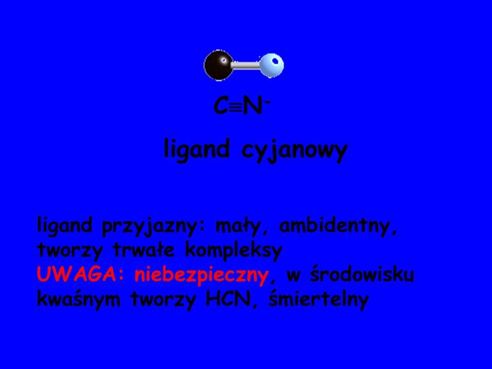 ligand cyjanowy ligand przyjazny: mały, ambidentny, tworzy trwałe kompleksy UWAGA: niebezpieczny, w środowisku kwaśnym tworzy HCN, śmiertelny C N -