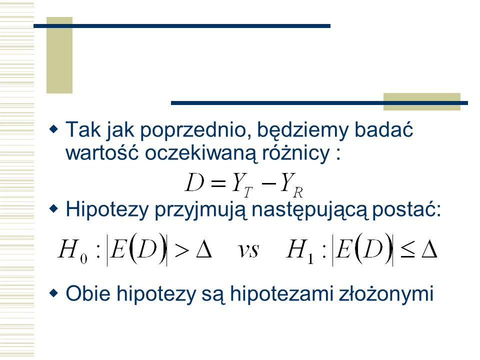 Tak jak poprzednio, będziemy badać wartość oczekiwaną różnicy : Hipotezy przyjmują następującą postać: Obie hipotezy są hipotezami złożonymi