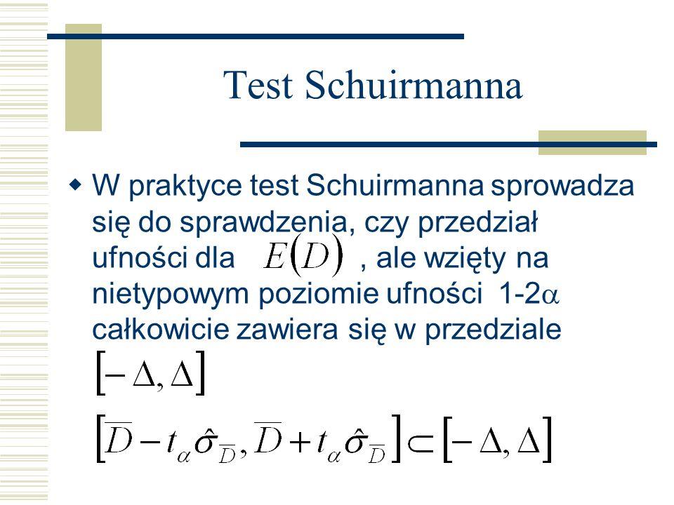 Test Schuirmanna W praktyce test Schuirmanna sprowadza się do sprawdzenia, czy przedział ufności dla, ale wzięty na nietypowym poziomie ufności 1-2 całkowicie zawiera się w przedziale