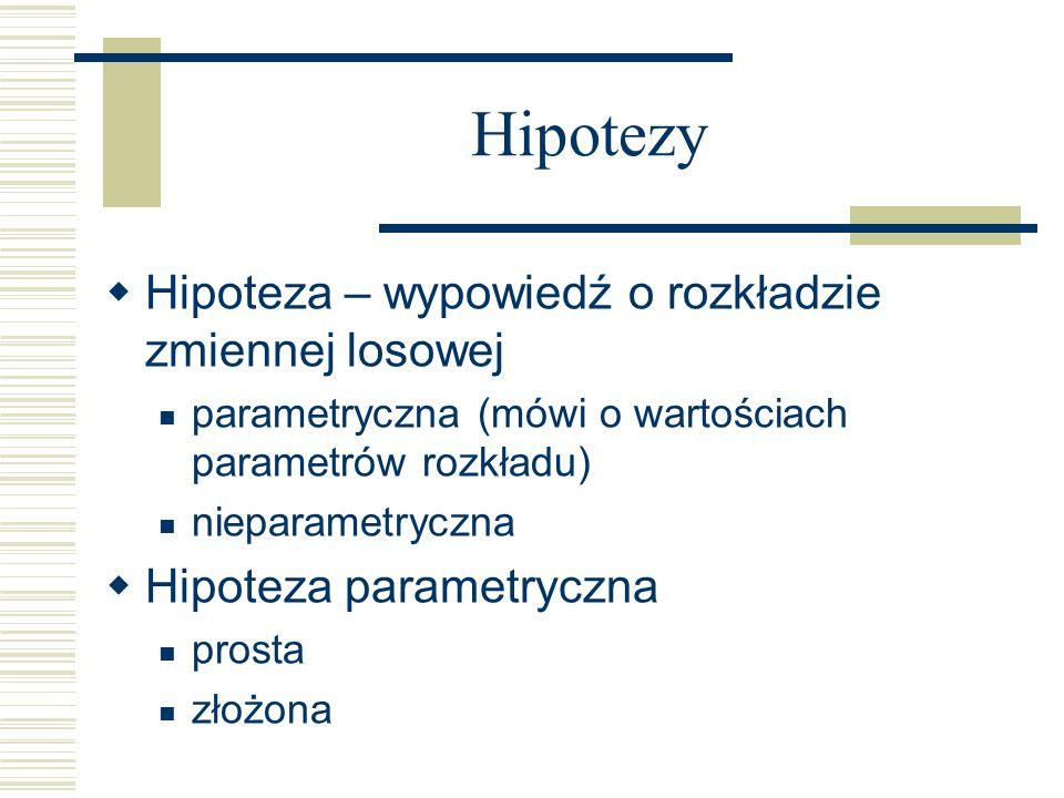 Hipotezy Hipoteza – wypowiedź o rozkładzie zmiennej losowej parametryczna (mówi o wartościach parametrów rozkładu) nieparametryczna Hipoteza parametry