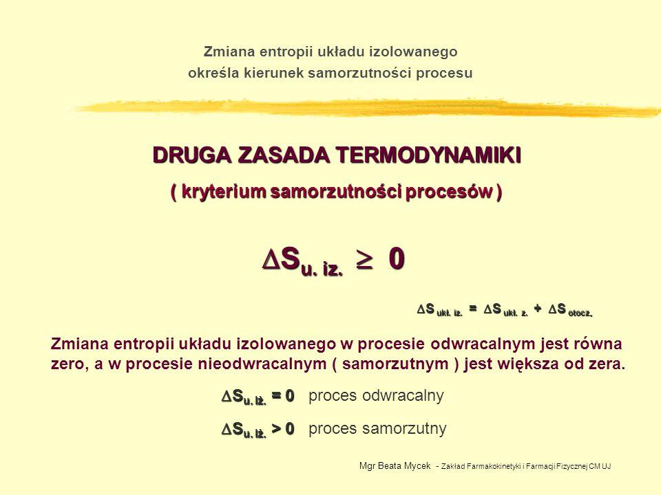 Mgr Beata Mycek - Zakład Farmakokinetyki i Farmacji Fizycznej CM UJ Zmiana entropii układu izolowanego określa kierunek samorzutności procesu DRUGA ZA