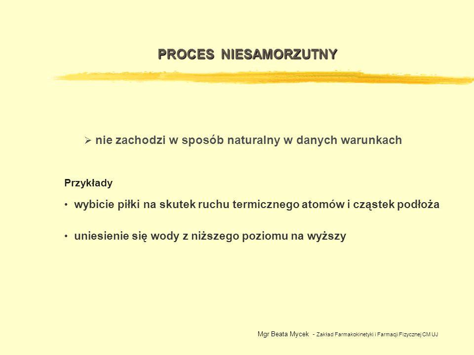 Mgr Beata Mycek - Zakład Farmakokinetyki i Farmacji Fizycznej CM UJ ENTROPIA miara nieuporządkowania materii i energii S ciało stałe < S ciecz < S gaz Jedyna funkcja termodynamiczna, dla której można podać wartość bezwzględną: S