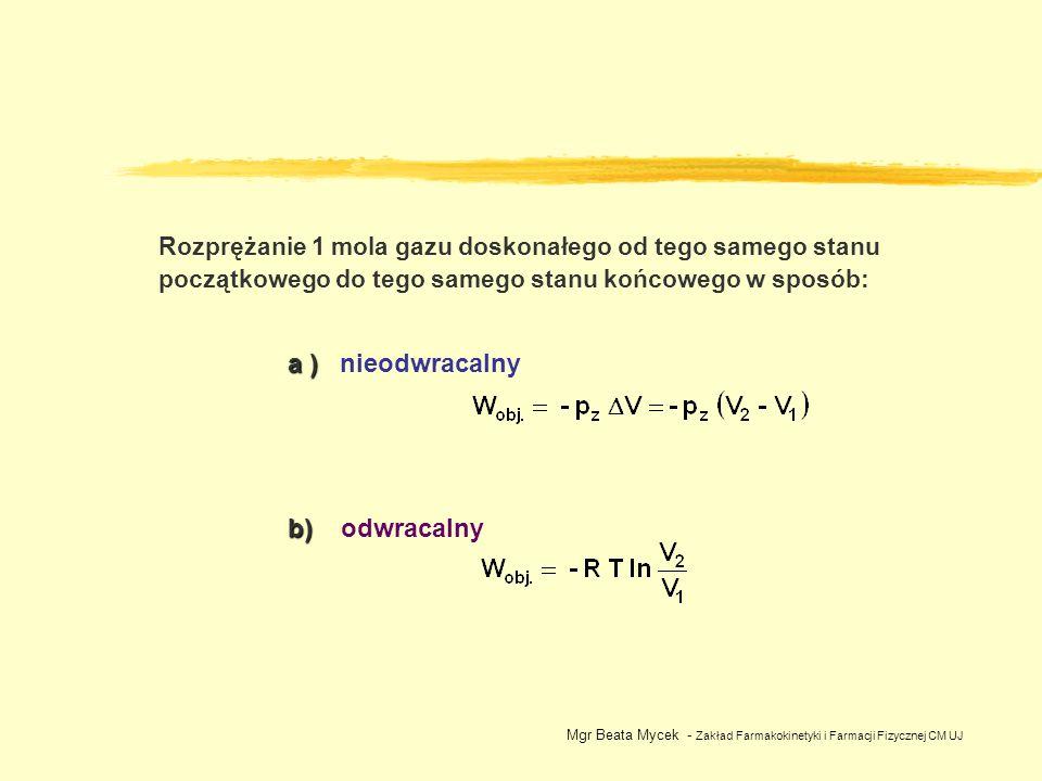 Rozprężanie 1 mola gazu doskonałego od tego samego stanu początkowego do tego samego stanu końcowego w sposób: a ) a ) nieodwracalny b) b) odwracalny