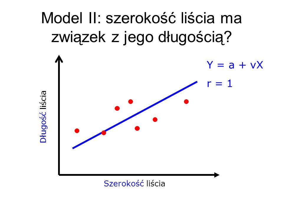 Szerokość liścia Długość liścia Model II: szerokość liścia ma związek z jego długością? Y = a + νX r = 1