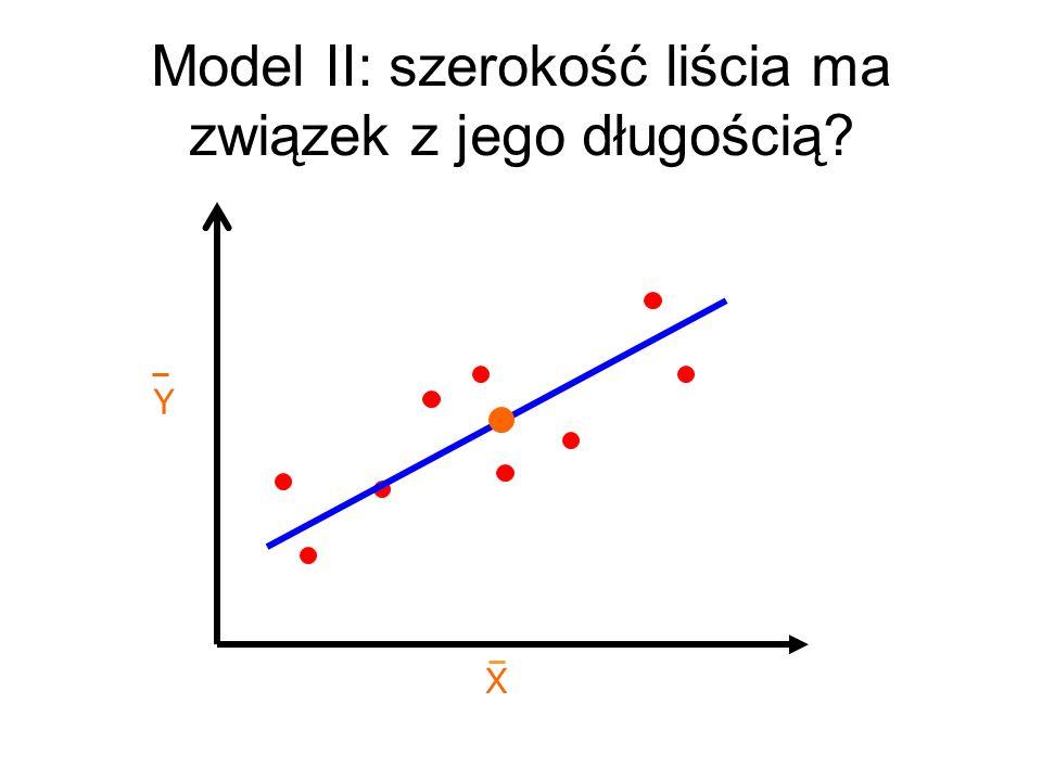 X Y Model II: szerokość liścia ma związek z jego długością?