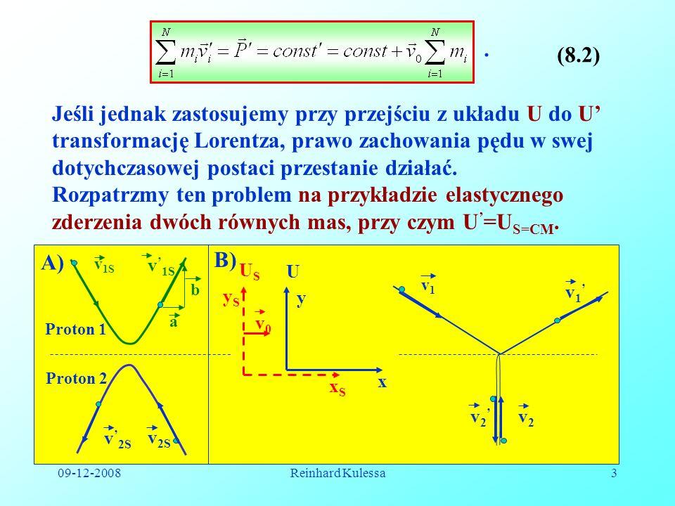 09-12-2008Reinhard Kulessa3. (8.2) Jeśli jednak zastosujemy przy przejściu z układu U do U transformację Lorentza, prawo zachowania pędu w swej dotych