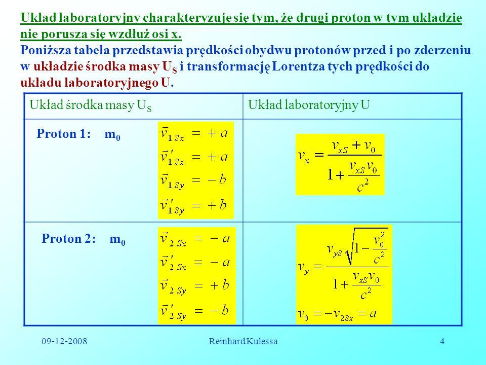 09-12-2008Reinhard Kulessa4 Układ laboratoryjny charakteryzuje się tym, że drugi proton w tym układzie nie porusza się wzdłuż osi x. Poniższa tabela p