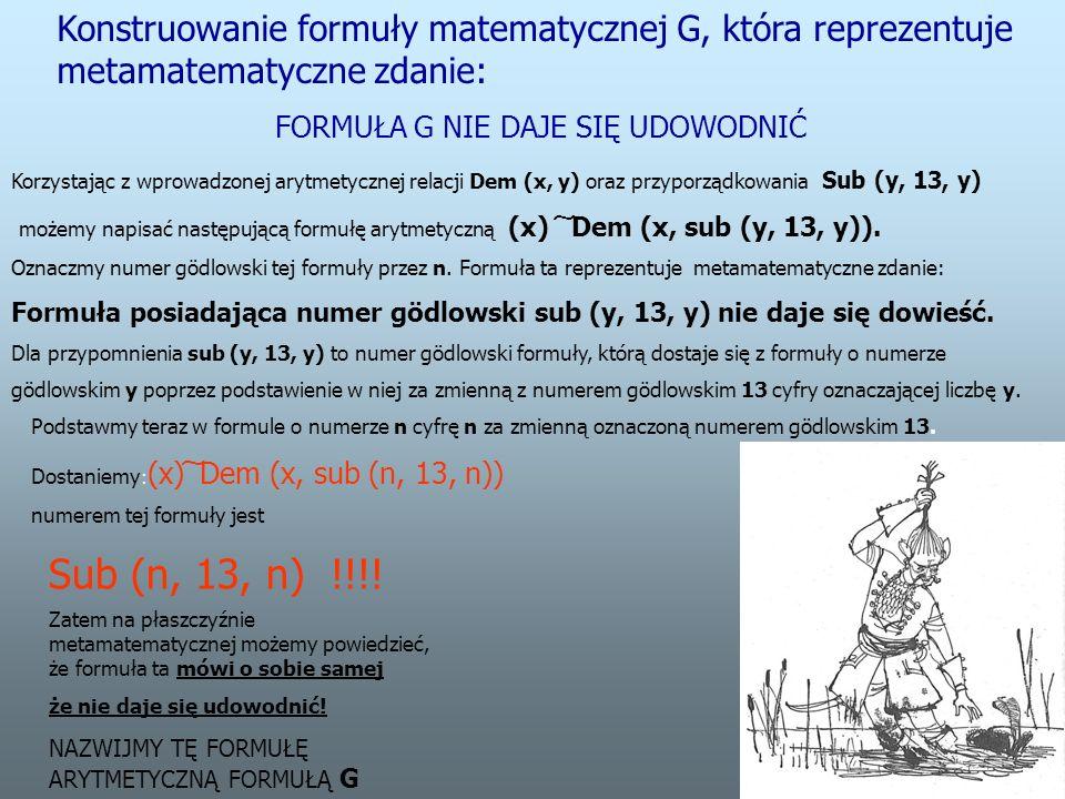 Konstruowanie formuły matematycznej G, która reprezentuje metamatematyczne zdanie: FORMUŁA G NIE DAJE SIĘ UDOWODNIĆ Korzystając z wprowadzonej arytmetycznej relacji Dem (x, y) oraz przyporządkowania Sub (y, 13, y) możemy napisać następującą formułę arytmetyczną (x) ͠ Dem (x, sub (y, 13, y)).