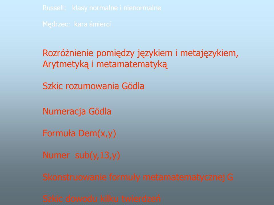 Russell: klasy normalne i nienormalne Mędrzec: kara śmierci Rozróżnienie pomiędzy językiem i metajęzykiem, Arytmetyką i metamatematyką Szkic rozumowania Gödla Numeracja Gödla Formuła Dem(x,y) Numer sub(y,13,y) Skonstruowanie formuły metamatematycznej G Szkic dowodu kilku twierdzeń