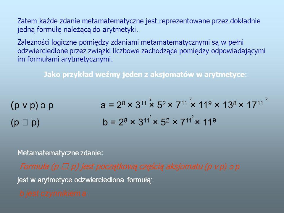Zatem każde zdanie metamatematyczne jest reprezentowane przez dokładnie jedną formułę należącą do arytmetyki.
