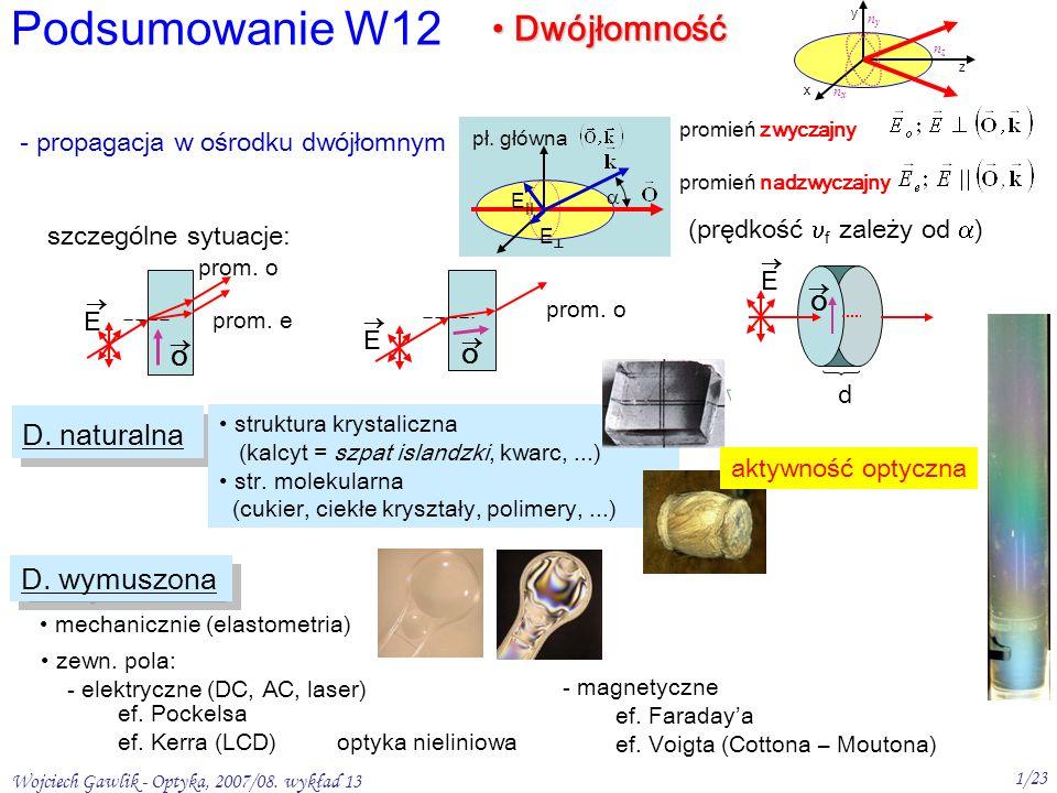 Wojciech Gawlik - Optyka, 2007/08. wykład 13 1/23 D. naturalna Podsumowanie W12 Dwójłomność Dwójłomność x y z nxnx nyny nznz - propagacja w ośrodku dw