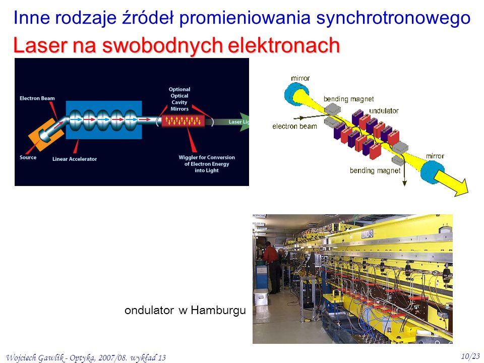 Wojciech Gawlik - Optyka, 2007/08. wykład 13 10/23 Laser na swobodnych elektronach Inne rodzaje źródeł promieniowania synchrotronowego ondulator w Ham