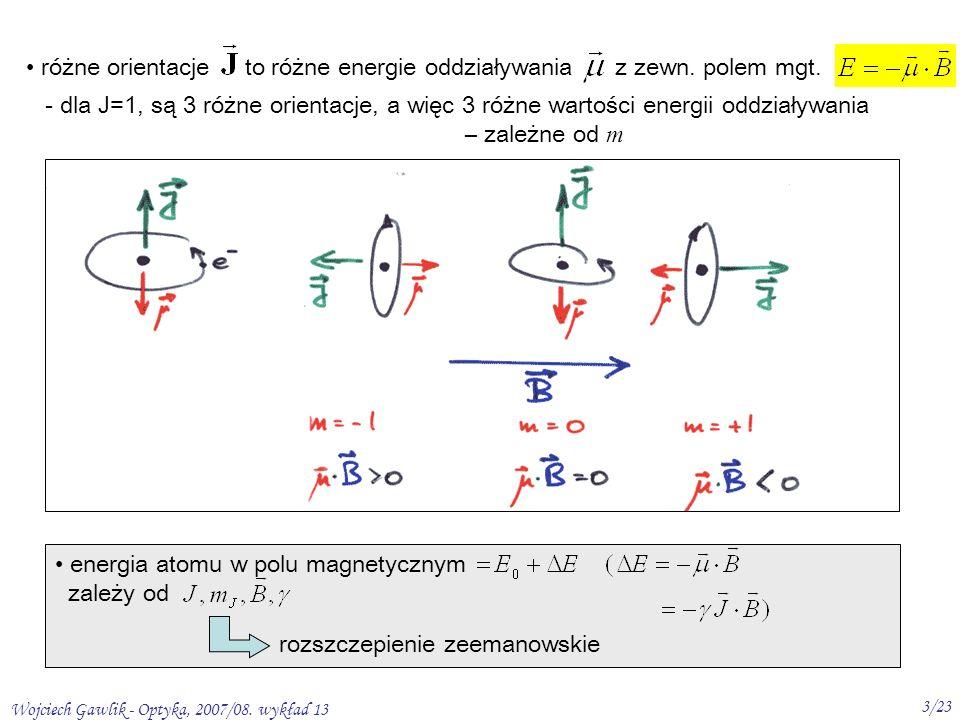 Wojciech Gawlik - Optyka, 2007/08. wykład 13 3/23 różne orientacje to różne energie oddziaływania z zewn. polem mgt. - dla J=1, są 3 różne orientacje,