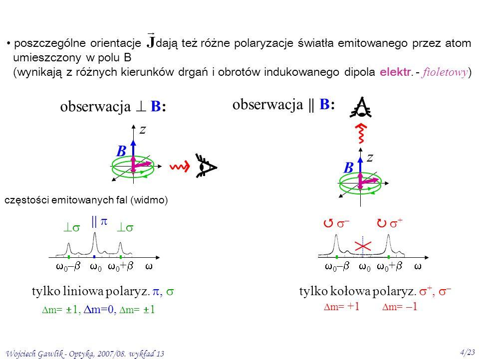 Wojciech Gawlik - Optyka, 2007/08. wykład 13 4/23 poszczególne orientacje dają też różne polaryzacje światła emitowanego przez atom umieszczony w polu
