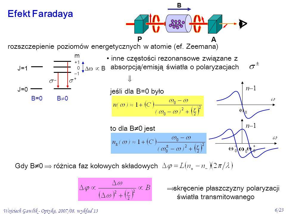 Wojciech Gawlik - Optyka, 2007/08. wykład 13 6/23 Efekt Faradaya P B A rozszczepienie poziomów energetycznych w atomie (ef. Zeemana) inne częstości re