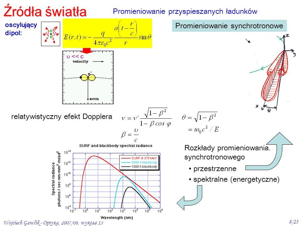 Wojciech Gawlik - Optyka, 2007/08. wykład 13 8/23 e – 2 << c < c c przestrzenne spektralne (energetyczne) Źródła światła Promieniowanie przyspieszanyc