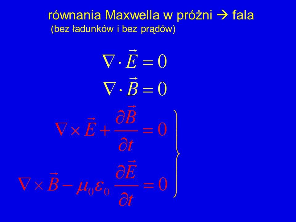 rotacja prawa Faradaya (z lewej) rotacja rotacji E = - laplasjan E Gauss bez ładunków