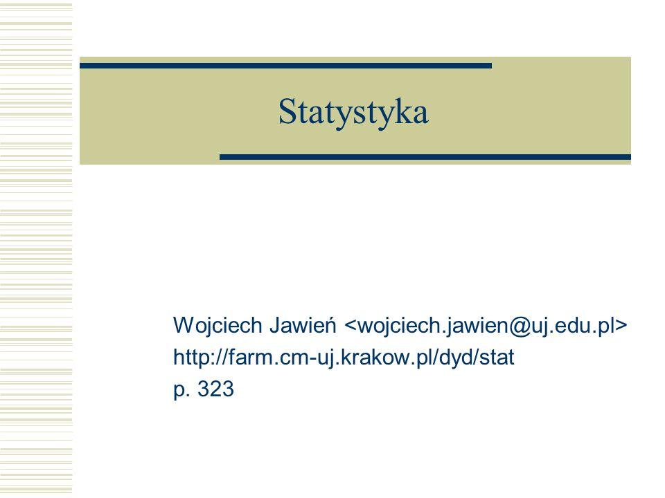 Statystyka Wojciech Jawień http://farm.cm-uj.krakow.pl/dyd/stat p. 323