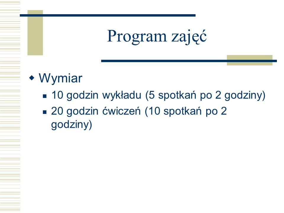 Program zajęć Wymiar 10 godzin wykładu (5 spotkań po 2 godziny) 20 godzin ćwiczeń (10 spotkań po 2 godziny)