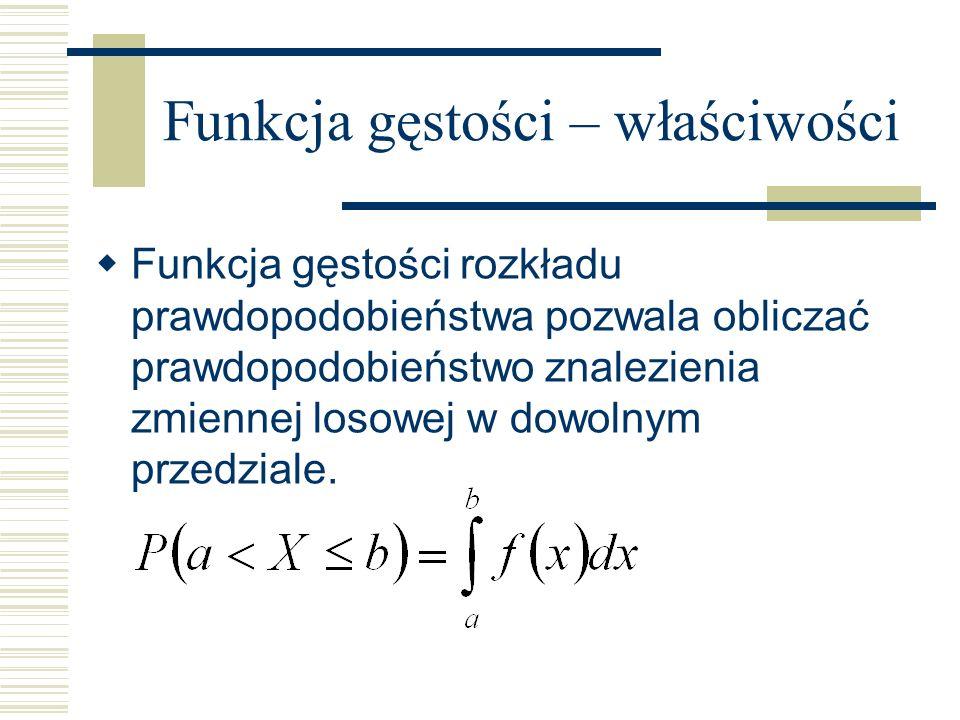 Funkcja gęstości – właściwości Funkcja gęstości rozkładu prawdopodobieństwa pozwala obliczać prawdopodobieństwo znalezienia zmiennej losowej w dowolny