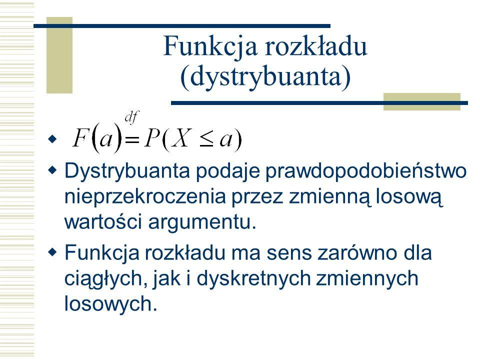 Funkcja rozkładu (dystrybuanta) Dystrybuanta podaje prawdopodobieństwo nieprzekroczenia przez zmienną losową wartości argumentu. Funkcja rozkładu ma s