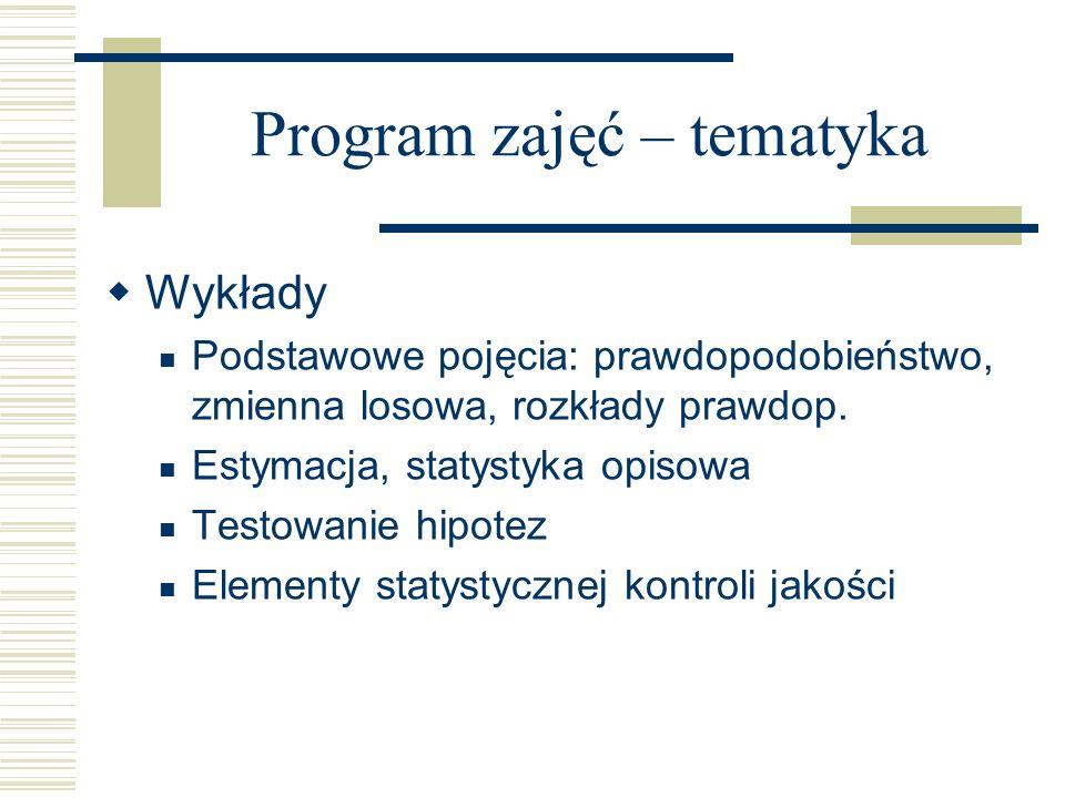 Program zajęć – tematyka Wykłady Podstawowe pojęcia: prawdopodobieństwo, zmienna losowa, rozkłady prawdop. Estymacja, statystyka opisowa Testowanie hi