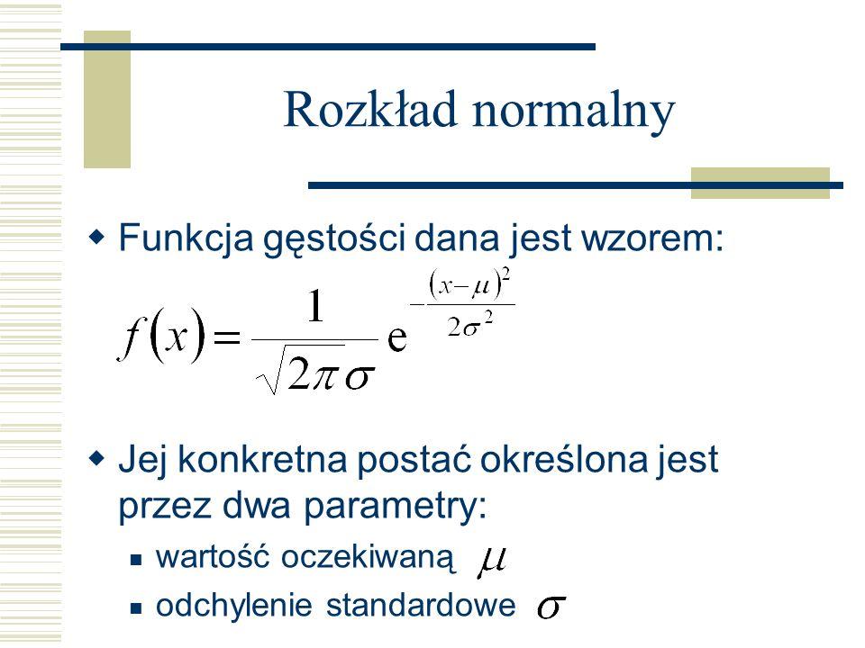 Rozkład normalny Funkcja gęstości dana jest wzorem: Jej konkretna postać określona jest przez dwa parametry: wartość oczekiwaną odchylenie standardowe
