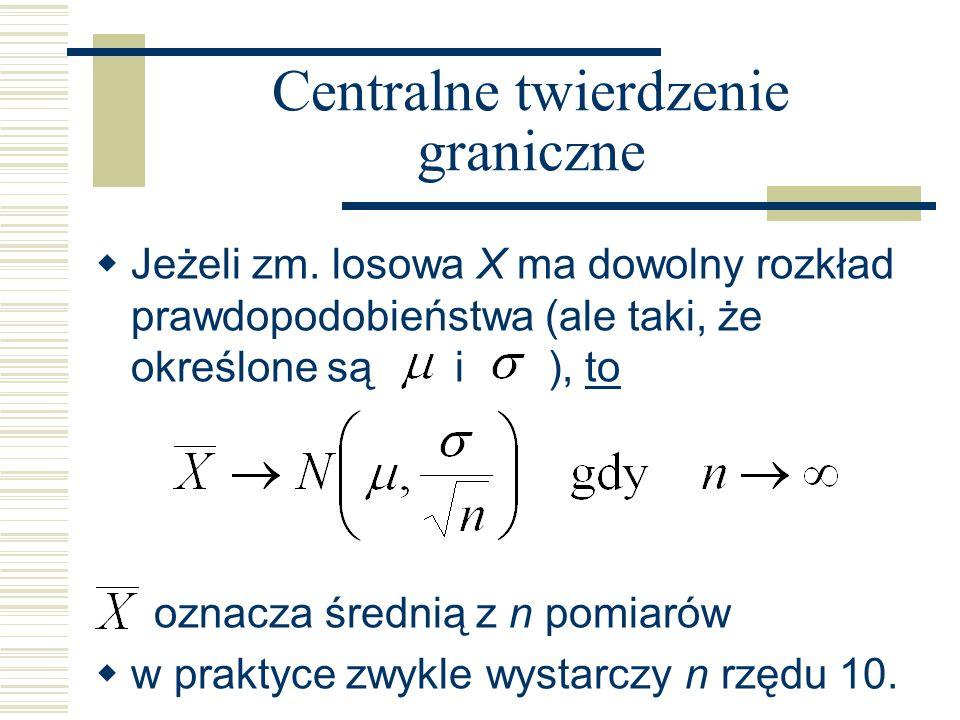 Centralne twierdzenie graniczne Jeżeli zm. losowa X ma dowolny rozkład prawdopodobieństwa (ale taki, że określone są i ), to oznacza średnią z n pomia